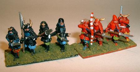 Foot Samurai with Sword (FSA5), with Naginata (FSA7) and Ashigaru Standing with Naginata (FSA9)