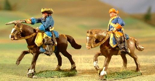GNWS8 Charging Cuirassier in tricorn, GNWS5 Mounted Dragoon in Karpus hat.