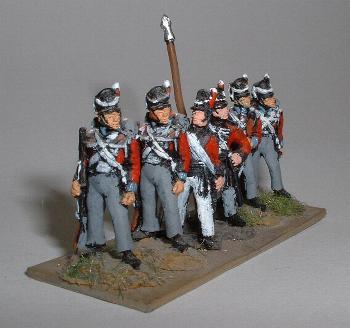 British Infantry (BNI1), officer (BNI5), standard bearer (BNI4)