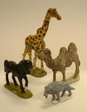 Pony (AN4), giraffe (AN18), a wolf (AN15), camel (AN9)