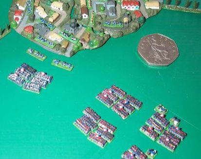 2mm Napoleonics prepare to charge a UK 50p piece