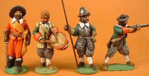 LRE6 Officer, 7 Drummer, 3 Pikeman Standing, 17 Musketeer firing without rest