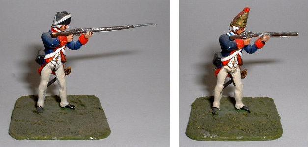 Left: Hessian or US Regular Infantry firing (LWAW2) Right: Hessian Grenadier firing (LWAW3)