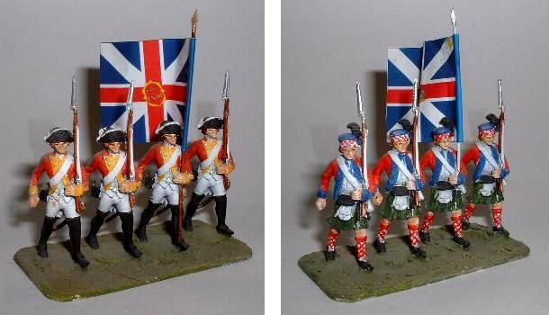 Left: British or American Regular Infantry (LWAW31) Right: Highland Infantry march attack (LWAW32)