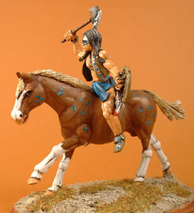 Mounted Indian with tomahawk