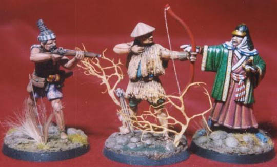 Ashigaru firing musket, Ashigaru in rain cape firing bow, Samurai Lord pointing