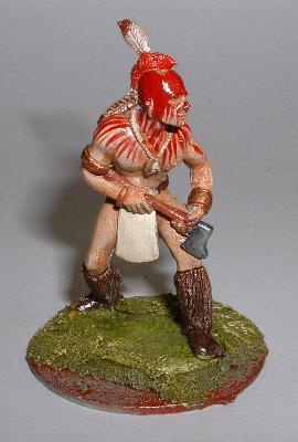 Mohican crouching with tomahawk