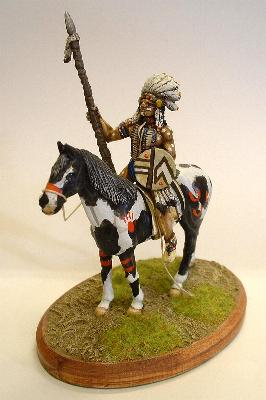 Mounted Indian with spear and shield