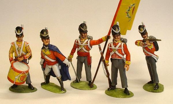 Left to right: British drummer, officer, standard bearer, infantry standing and infantry firing