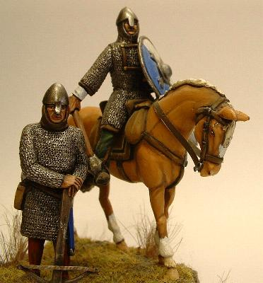Norman crossbowman and cavalry with mace