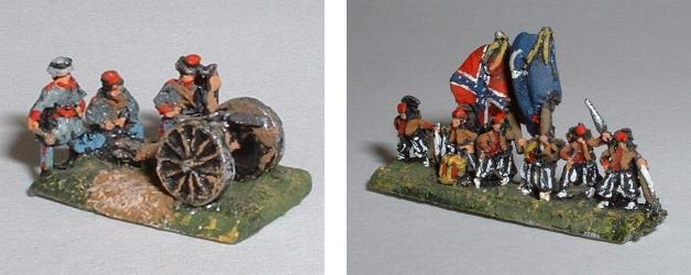 Left: ACW12 Artillery crew Right: ACW14 Zouave Command