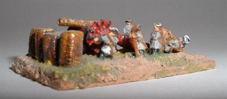 Strip of gabions (ES12) with 18th Century range large siege gun and crew (XT14)