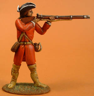 Colonial Militia/French Marine standing firing in tricorne
