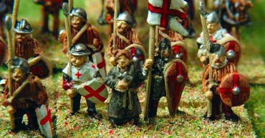 13th Century Spearman (HR58 from the Medieval range), Dark Age Priest/Monk (V90), Norman Infantry Standard Bearer (V89)