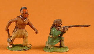 NIW27 Mohican with club, NIW7 Ranger squirrel hat kneeling firing