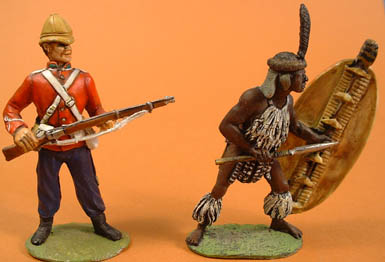 British Infantry loading & Married Zulu attacking underarm