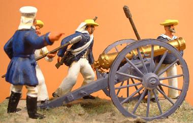 British Naval Gun & 4 crew