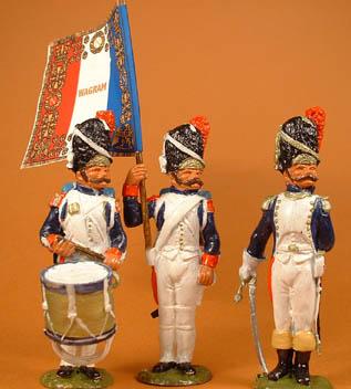 French Old Guard Grenadier drummer, standard bearer & officer