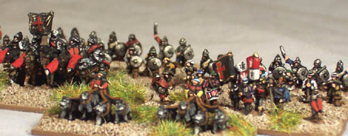 LR30 Sword and Buckler Men/Conquistadors, CM22 Conquistador heavy cavalry & CM19 Handler and 4 war dogs