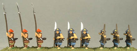 FSA15 Ashigaru standing with Yari, FSA9 Ashigaru Standing with Naginata, FSA10 Ashigaru Firing Bow