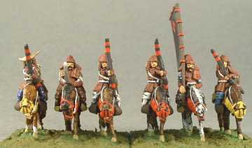 FSA2 Samurai Cavalry with Bow, FSA1 Mounted Samurai with Sword, FSA3 Samurai Cavalry Standard Bearer