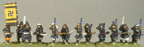 FSA5 Foot Samurai with Sword, FSA11 Foot Samurai Standard Bearer, FSA7 Foot Samurai with Naginata, FSA6 Foot Samurai with Bow
