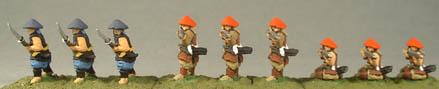 FSA8 Ashigaru Advancing with Naginata, FSA16 Ashigaru standing firing Arquebus, FSA17 Ashigaru kneeling firing Arquebus