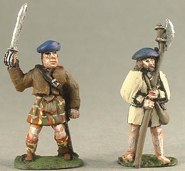 NM37 Clansman with sword, NM38 Humblie with axe