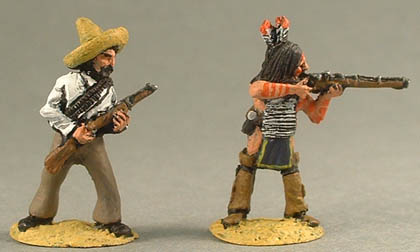NPW26 Mexican Infantry, advancing with rifle, NPW10 Sioux, standing firing musket