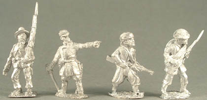 BACW1 Infantry marching in slouch hat, BACW8 Officer with sword in kepi, BACW32 Zouave infantry advancing, BACW33 Iron Brigade infantry advancing