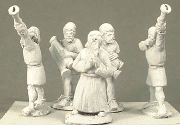 RR3 Group of 3 assorted Jewish priests and 2 sacred trumpeters