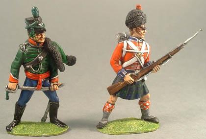British Rifleman officer, British Highlander at bay