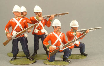 British Infantry loading, Officer,  firing, kneeling loading, kneeling firing