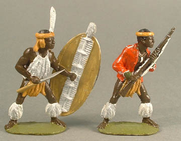 Married Zulu attacking underarm & Zulu Warrior with rifle and captured jacket
