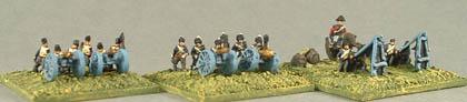 BN13 British Foot Artillery - gun, crew, BN14 British Royal Horse Artillery - gun, crew, BN15 British Rocket Launcher and crew