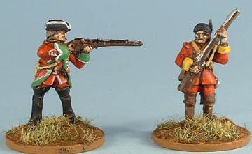 NIW42 British Regular standing firing musket, NIW45 British Light Infantry advancing with musket