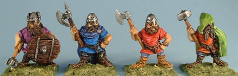 F31 Four assorted dwarves with axe, hammer, mace and halberd