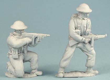 British Infantry kneeling firing Thompson SMG, British Infantry firing Thompsom SMG
