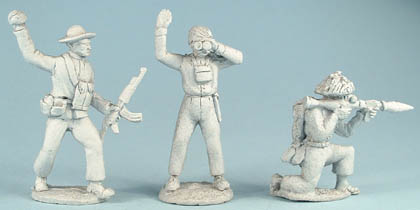 NAM9 VC/NVA with AK47, throwing grenade, NAM12 VC/NVA Officer signalling, NAM10 VC/NVA kneeling, firing RPG