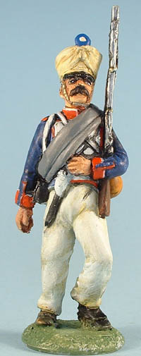 French Infantry in scruffy campaign dress, marching