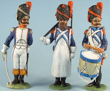 French Old Guard Officer, Sapper, Drummer