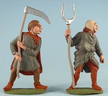 Peasant with scythe, Peasant with pitchfork