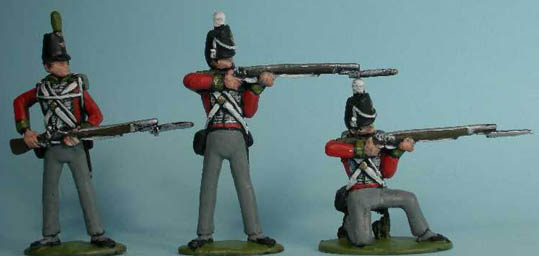 "LWNB1 British Light Infantry ""at the Ready'', LWNB2 British Line Infantry Standing Firing, LWNB3 British Line Infantry Kneeling Firing"