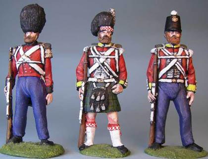 British Guardsman standing, British Highlander standing, British Line Infantry standing