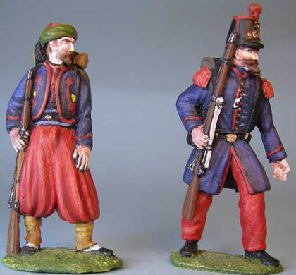French Zouave standing, French Line Infantry advancing