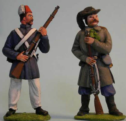 Turkish Infantry standing, Sardinian Bersagliere standing