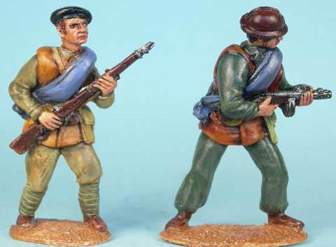 International Brigade advancing with rifle, International Brigade firing SMG