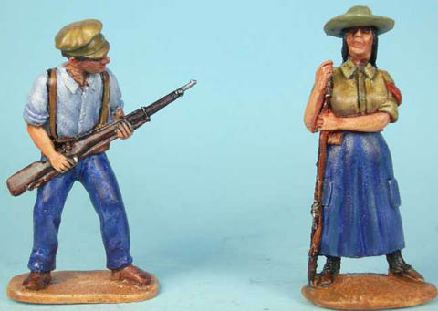 Militiaman at ready, Milicina Militia Woman in dress and hat